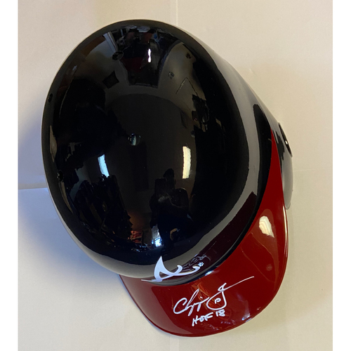 "Photo of Chipper Jones ""HOF 18"" Autographed Braves Helmet"