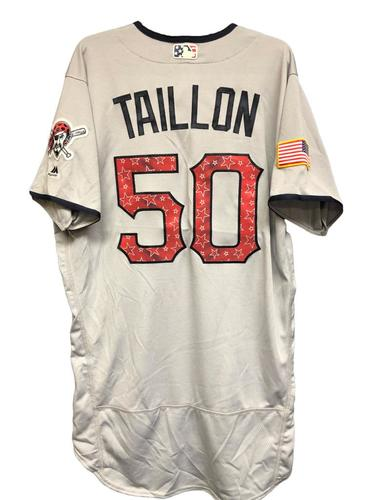 Photo of Jameson Taillon Game-Used Stars & Stripes Jersey