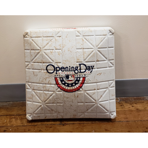 Photo of Game-Used Opening Day Base: Kansas City Royals at Philadelphia Phillies - 1st Base Used in Innings 7-9 - 4/5/13