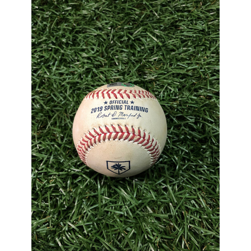 Photo of Spring Training Game Used Baseball: Tyler Wade RBI double off Yonny Chirinos - February 24, 2019 v NYY
