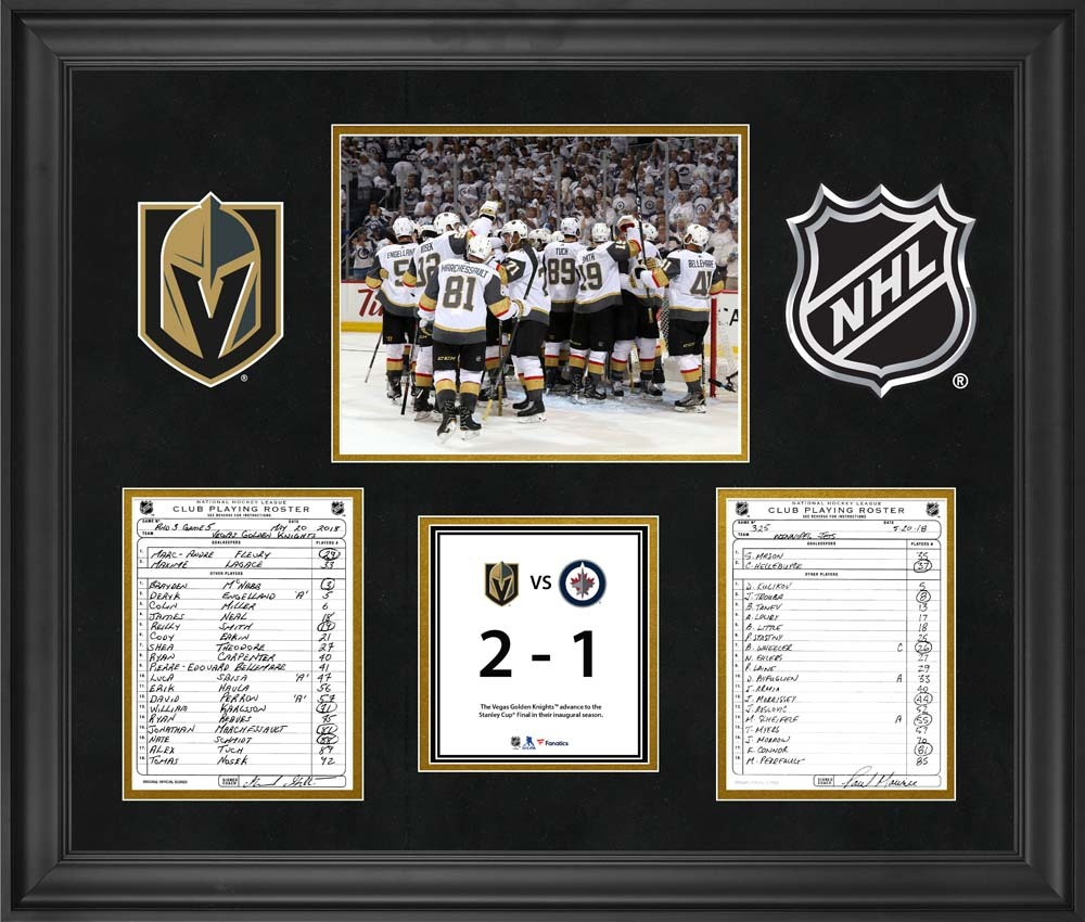 Vegas Golden Knights Framed Original Line-Up Cards from Game 5 of the 2018 Western Conference Final on May 20, 2018 vs. Winnipeg Jets - Vegas Golden Knights Advance to First Stanley Cup Final in Franchise History