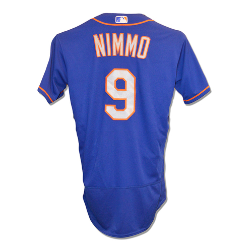 Photo of Brandon Nimmo #9 - Game Used Blue Alt. Road Jersey - 1-3, BB - Mets vs. Padres - 5/8/2019
