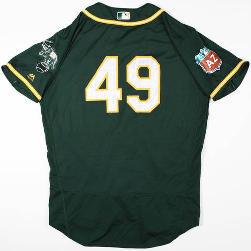 Photo of 2016 Spring Training - Spring Training Game Used Jersey - Kendall Graveman (Athletics)- Size- 46