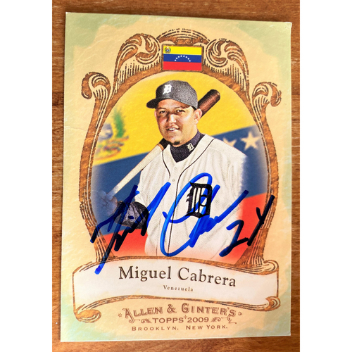 Miguel Cabrera Autographed Detroit Tigers 2009 Allen & Ginter's Baseball Card (NOT MLB AUTHENTICATED)