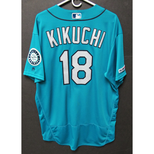 Photo of Yusei Kikuchi Game-Used Home Green Jersey - Athletics vs. Mariners - 7/5/19