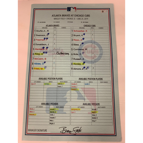 Photo of June 25, 2019 Game Used Dugout Lineup Card - Acuna HR, Albies HR - Braves at Cubs