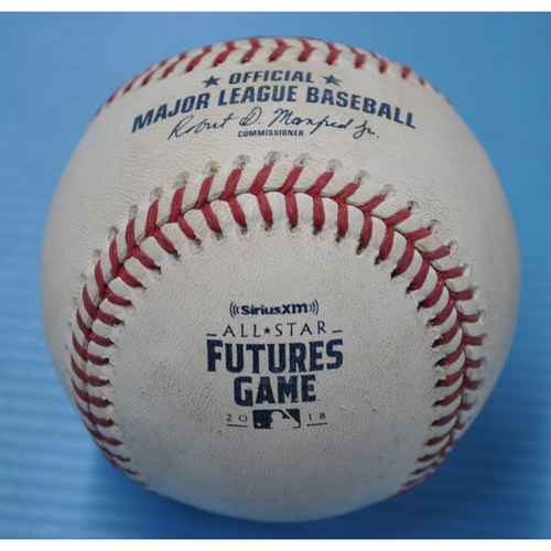 Photo of Game-Used Baseball - 2018 All-Star Futures Game - Pitcher: Lewis Thorpe, Batter: Kyle Lewis - 4th Inning - Ball