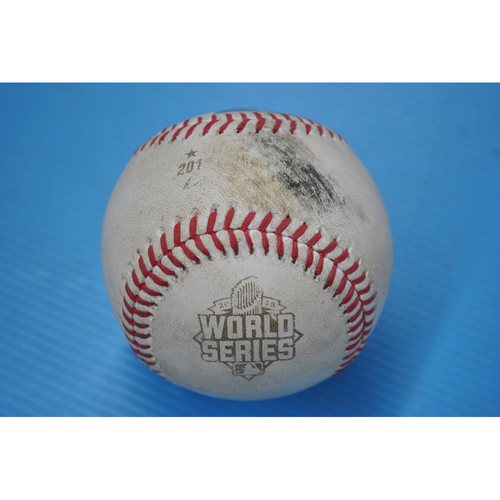 Photo of Game-Used Baseball - 2015 World Series - Game 4 - Pitcher: Danny Duffy, Batter: Curtis Granderson, Jr. - Single - 5th Inning