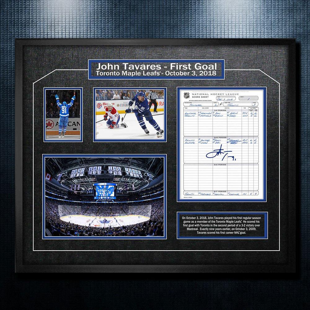 John Tavares Toronto Maple Leafs Autographed First Goal Scoresheet 22x26 Frame