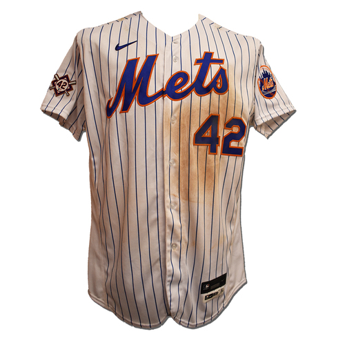 Photo of Pete Alonso #20 - Game Used Jackie Robinson Day Jersey and Hat - 1-3, BB - Mets vs. Nationals - 4/23/21