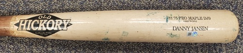 Photo of Authenticated Game Used 2 Piece Broken Bat: Foul by Danny Jansen against Nick Vincent (Sep 26, 2021 vs MIN). Top 7.