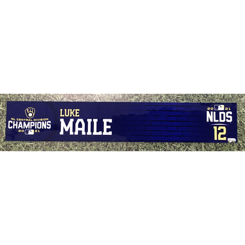 Photo of Luke Maile 2021 Game-Used NLDS Locker Nameplate