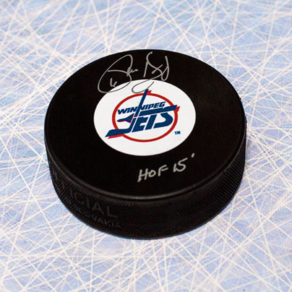 Phil Housley Winnipeg Jets Autographed Hockey Puck with HOF Note