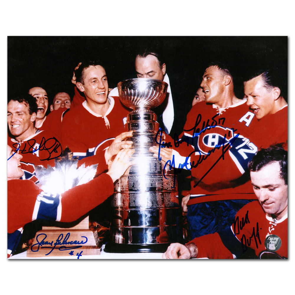 Montreal Canadiens Autographed 1965 Stanley Cup Champions 8X10 Photo - Signed by Five