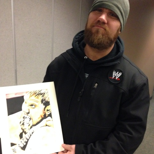 Curtis Axel Signed Painting by Rob Schamberger