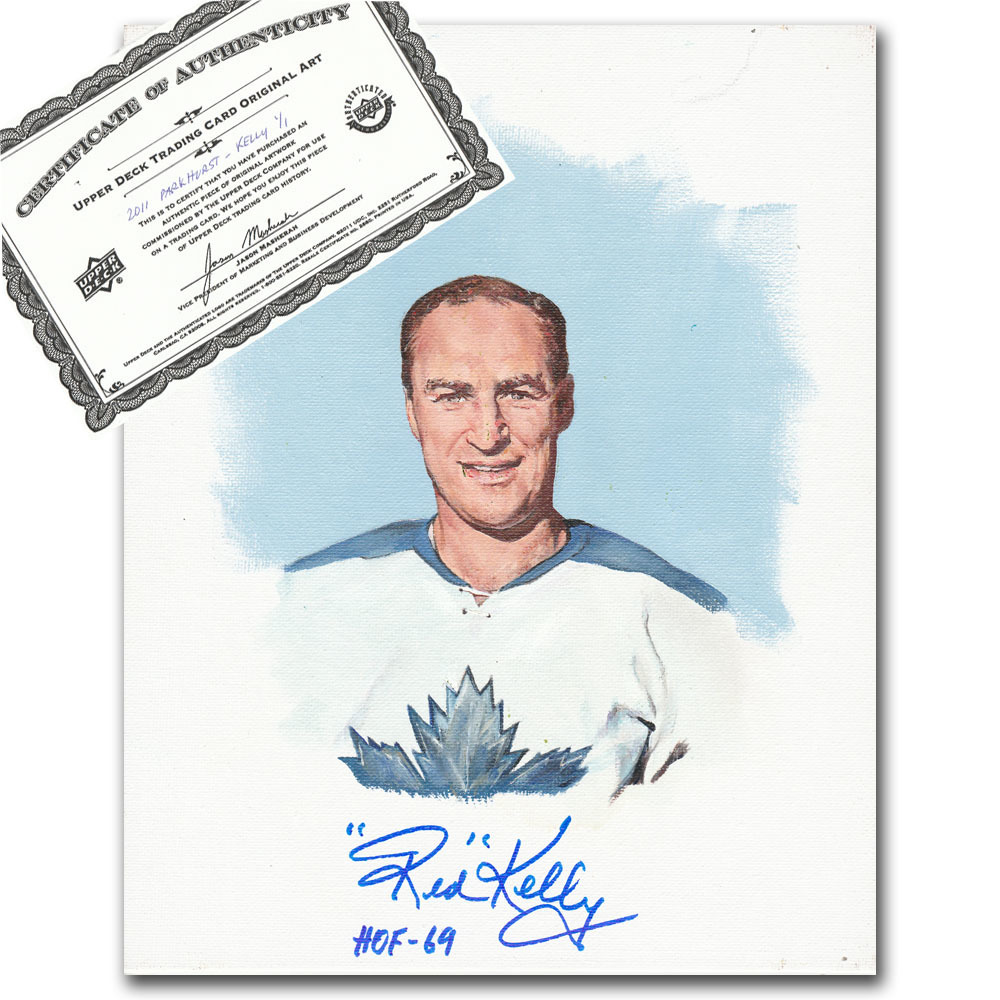 Red Kelly Autographed Upper Deck Trading Card Original Artwork - Limited Edition 1/1