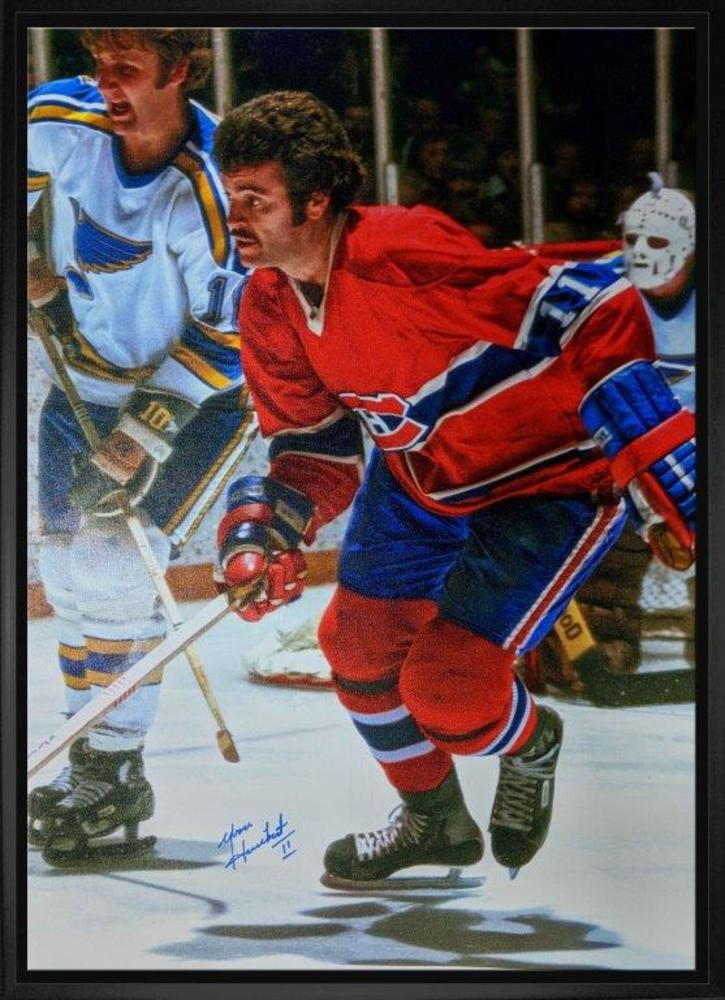 Yvon Lambert Signed 20x29 Canvas Framed Canadiens Red-V Action vs Blues