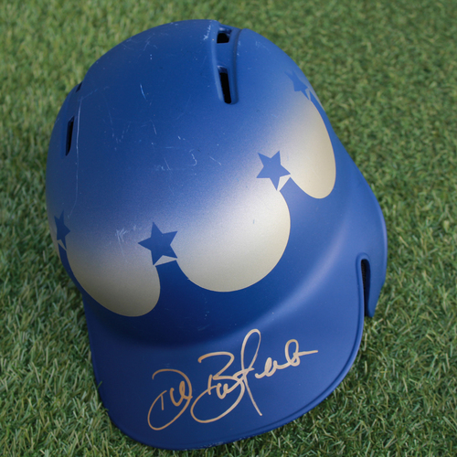 Photo of Team-Issued and Autographed Turn Ahead the Clock Batting Helmet: Drew Butera (Size - 7 1/4)