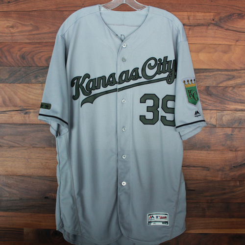 Photo of Game-Used Memorial Day Jersey: Jason Hammel (Size 48 - KC @ TEX - 5/27/18)