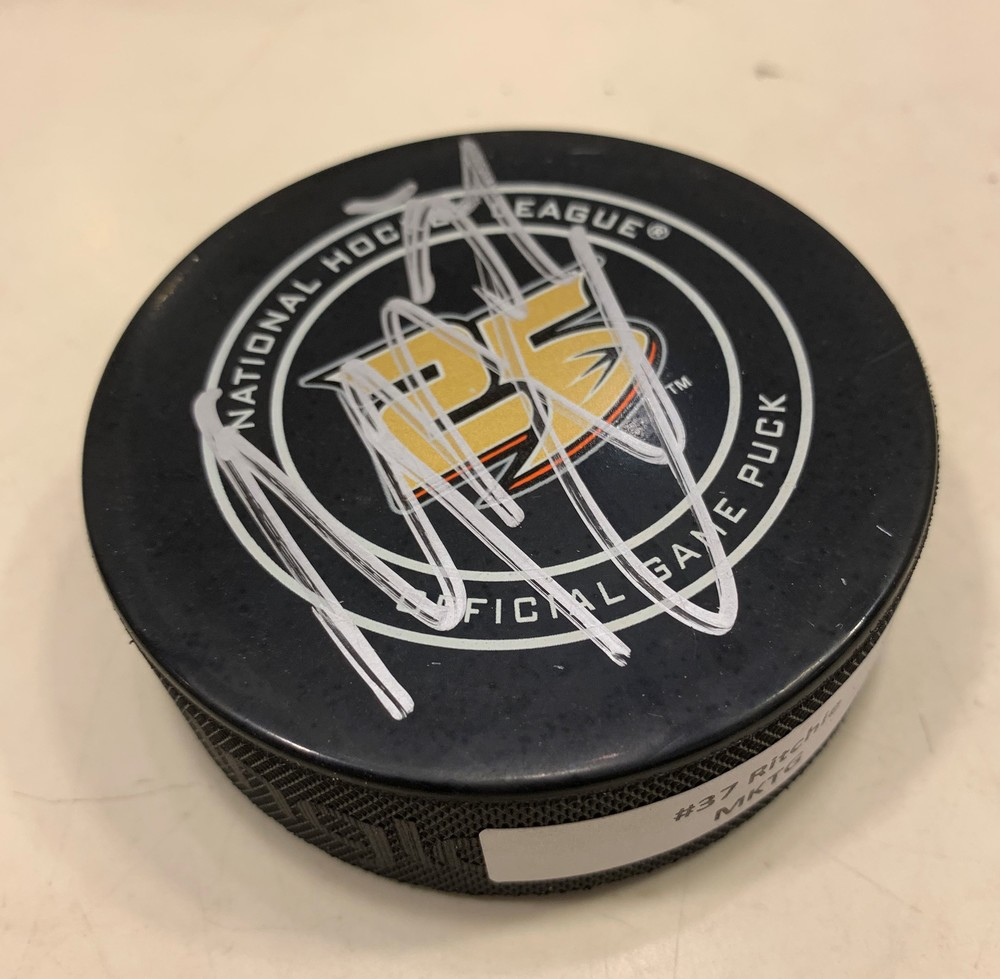 Nick Ritchie Anaheim Ducks 25th Anniversary AUTOGRAPH PUCK