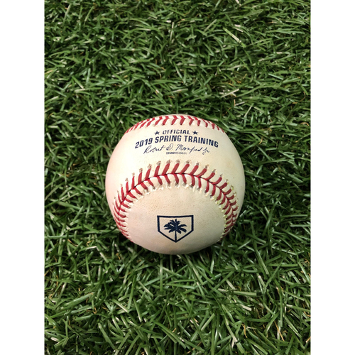 Photo of Spring Training Game Used Baseball: DJ LeMahieu single off Yonny Chirinos - February 24, 2019 v NYY