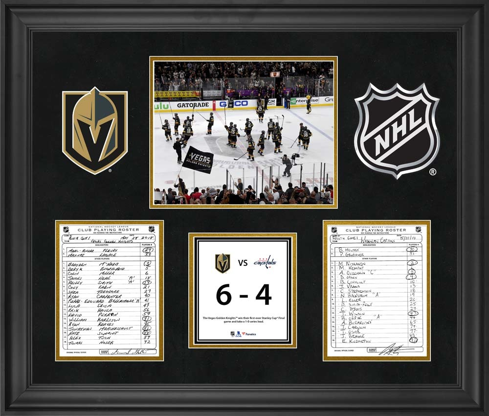 Vegas Golden Knights Framed Original Line-Up Cards from Game 1 of the 2018 Stanley Cup Final on May 28, 2018 vs. Washington Capitals - First Stanley Cup Final Game and Win in Franchise History
