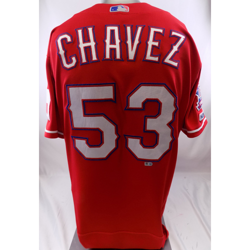 Photo of Red Game-Used Jersey - Jesse Chavez - 3/30/19