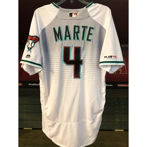 Photo of Ketel Marte 2019 Team-Issued White/Teal Home Alternate Jersey
