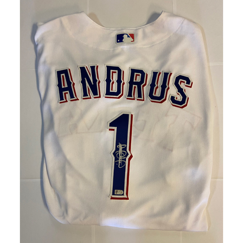 Photo of Elvis Andrus Autographed Authentic Rangers Jersey