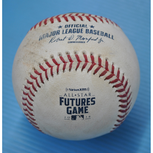 Photo of Game-Used Baseball - 2018 All-Star Futures Game - Pitcher: Adonis Medina, Batter: Pete Alonso - 7th Inning - Ball in Dirt