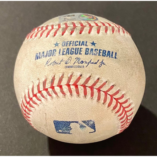 Photo of Game-Used Baseball: Batter: Austin Nola (2 Run Home Run), Pitcher: Antonio Senzatela - Bottom 6th (COL @ SEA - 8/7/2020)