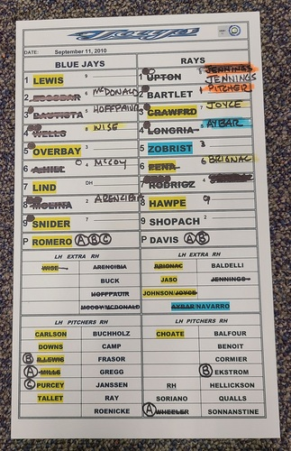 Photo of Authenticated Game Used Lineup Card (September 11, 2010 vs TBR): Wade Davis gets the Win with 7 IP, 1 ER and 6 Ks