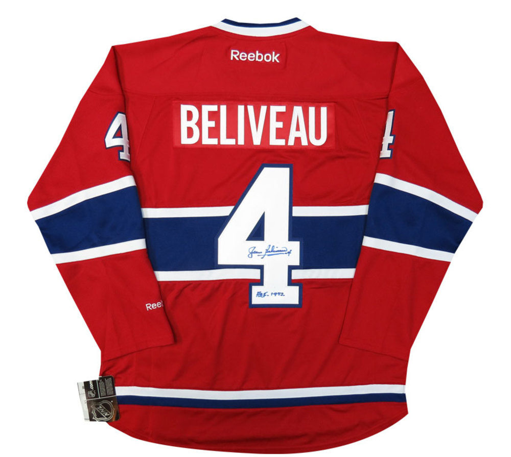 Jean Beliveau Autographed HHOF Inscribed Signed Reebok NHL Hockey Jersey