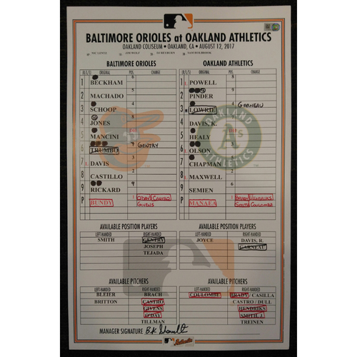 Photo of Game-Used Lineup Card: Dylan Bundy's 12th Win of 2017