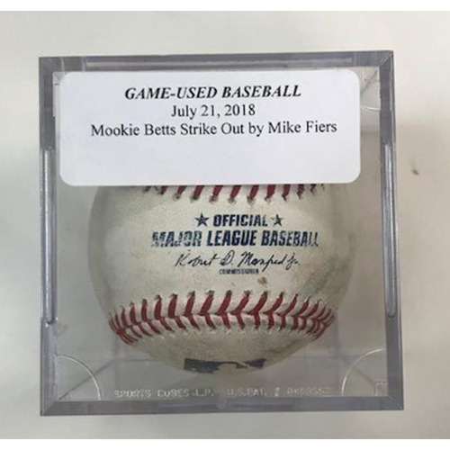 Photo of Game-Used Baseball: Mike Fiers Strikeout of Mookie Betts