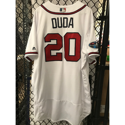 Photo of Lucas Duda Game-Used 2018 NLDS Jersey - Worn 10/7/18 - First Postseason Game at SunTrust Park