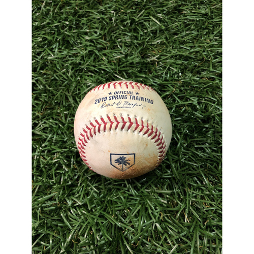 Spring Training Game Used Baseball: Estevan Florial strikeout and Thairo Estrada triple off Hoby Milner - February 24, 2019 v NYY