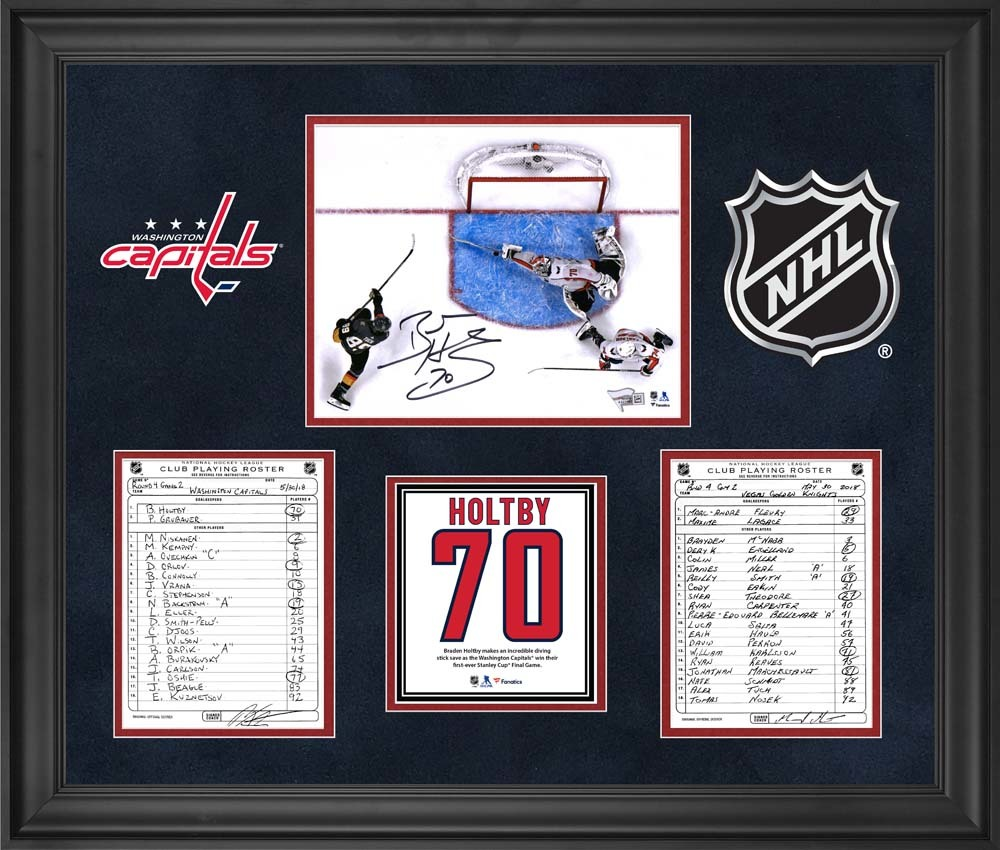 Washington Capitals Framed Original Line-Up Cards from Game 2 of the 2018 Stanley Cup Final on May 30, 2018 vs. Vegas Golden Knights with Autographed Braden Holtby 8