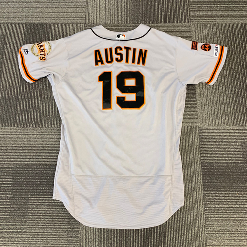 Photo of 2019 Game Used Road Jersey Worn by #19 Tyler Austin - 5/9 vs Colorado Rockies - 2 Home Runs and 6 RBIs - Size 48