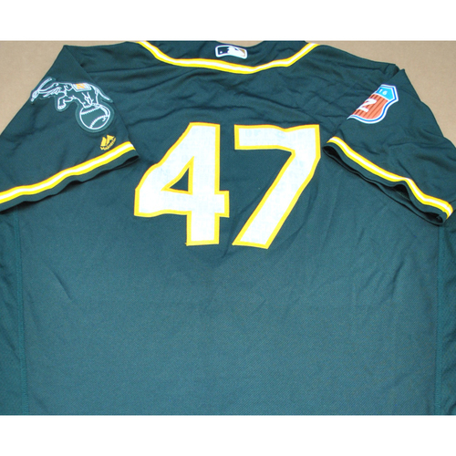 Photo of Game-Used 2016 Spring Training Jersey - Bryan Anderson - Size 48 - Oakland Athletics