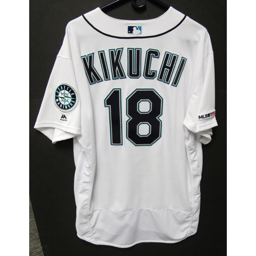 Photo of Yusei Kikuchi Game-Used Home White Jersey - Astros vs. Mariners - 9/25/19