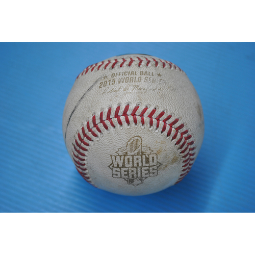 Photo of Game-Used Baseball - 2015 World Series - Game 1 - Pitcher: Addison Reed, Batter: Alex Gordon - Foul Tipped