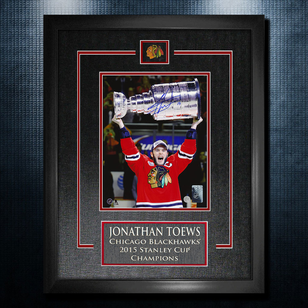Jonathan Toews Chicago Blackhawks Autographed 2015 Stanley Cup 18x22 Frame