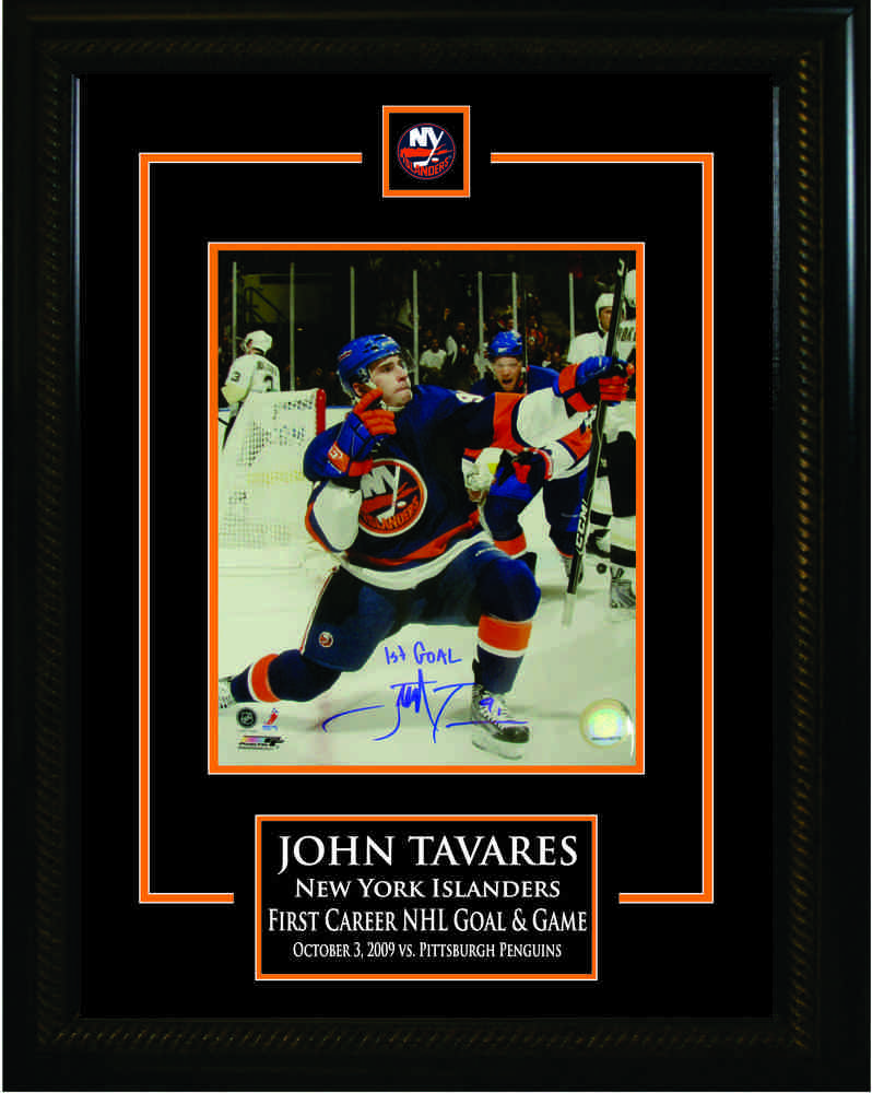 John Tavares - Signed & Framed 8x10 Etched Mat - First Career Goal New York Islanders