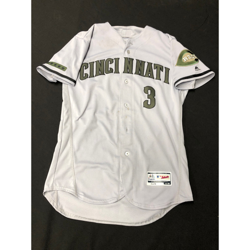 Photo of Scooter Gennett -- Game-Used -- Memorial Day Jersey (Worn May 26: 5-for-5, HR, RBI, R)