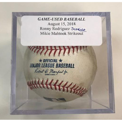 Photo of Game-Used Baseball: Ronny Rodriguez Single and Mikie Mahtook Strikeout