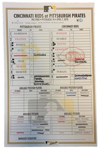 Photo of Game-Used Lineup Card from Pirates vs. Reds on 4/7/18