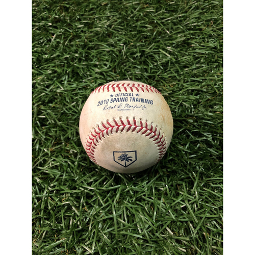 Photo of Spring Training Game Used Baseball: Yonny Chirinos ball in dirt to Clint Frazier - February 24, 2019 v NYY
