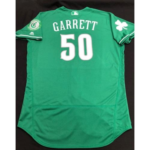 Photo of Amir Garrett -- Team-Issued Jersey -- 2019 St. Patrick's Day