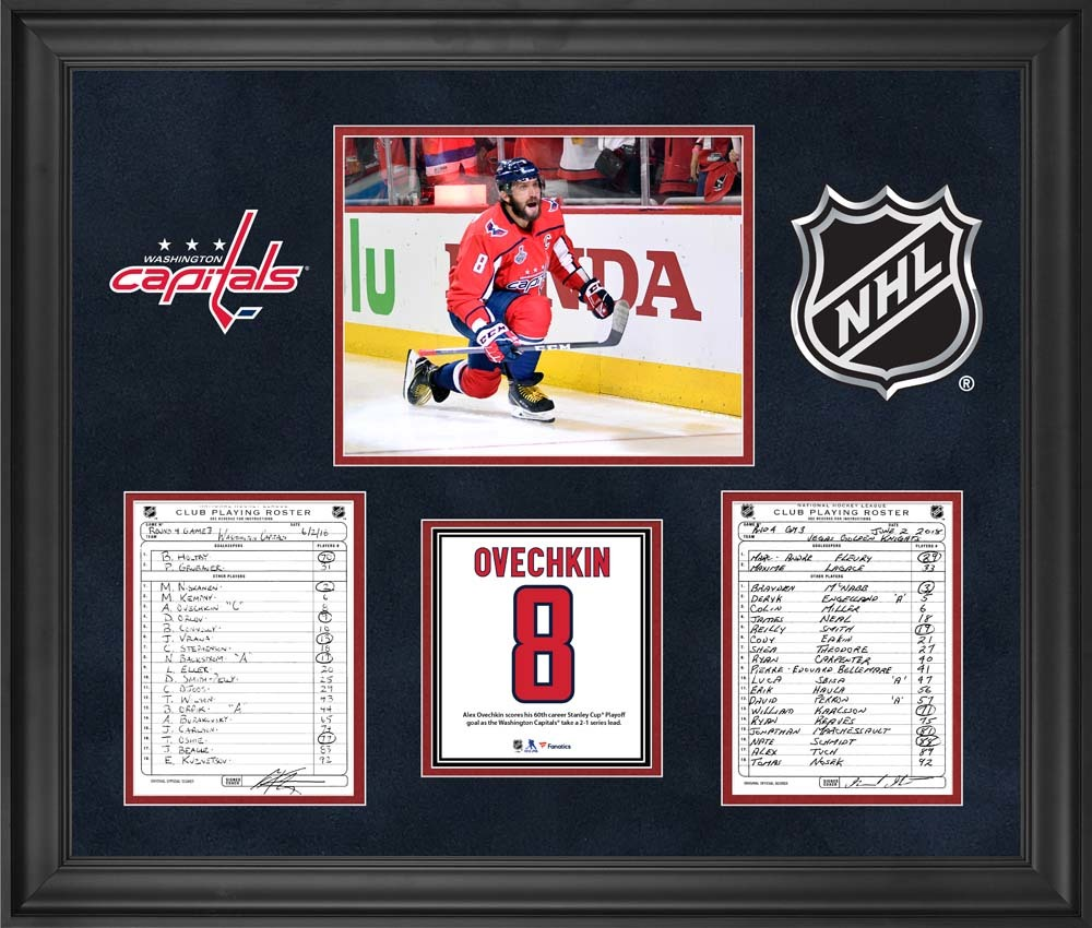 Washington Capitals Framed Original Line-Up Cards from Game 3 of the 2018 Stanley Cup Final on June 2, 2018 vs. Vegas Golden Knights - Alex Ovechkin Scores 60th Stanley Cup Playoff Goal